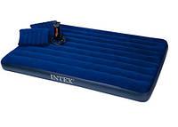 Надувной матрас Intex 68765 с двумя подушками и насосом (203*152*22 см) Сииний