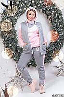 Теплый нежный женский спортивный костюм тройка с начесом 48-54р., фото 1
