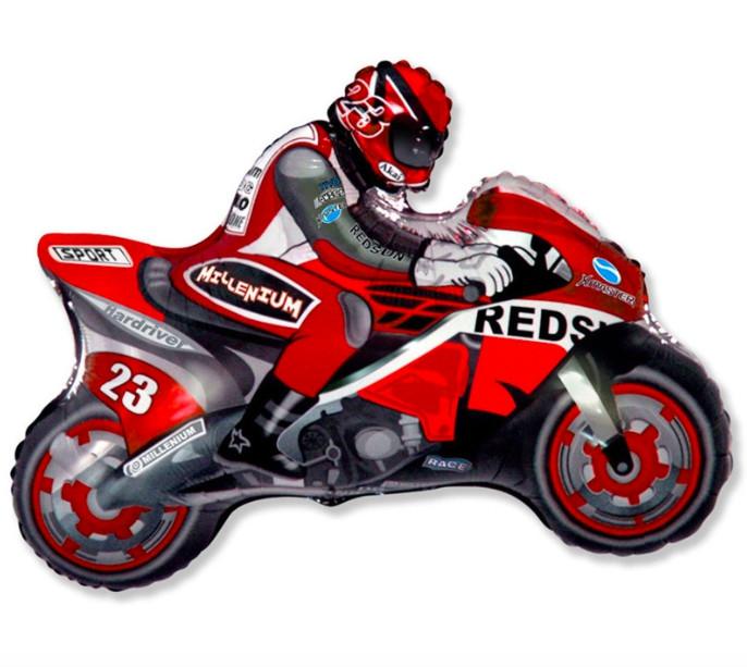 Фольгированный шар  Мотоциклист 23см х 30см Оранжевый