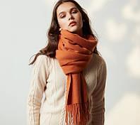 Шерстяной шарф тёплый оранжевый женский