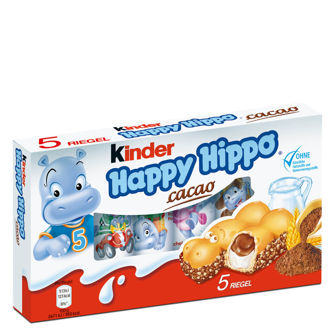 Kinder Happy Hippo Cacao Вафельные бегемотики с шоколадно-молочной начинкой