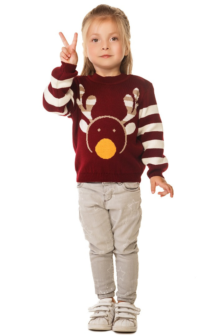 Вязаный теплый свитер с принтом Олень для девочки 86-104 р
