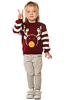 Вязаный теплый свитер с принтом Олень для девочки 86-104 р, фото 1