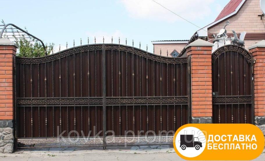 Кованые распашные ворота из профнастилом, код: Р-0193