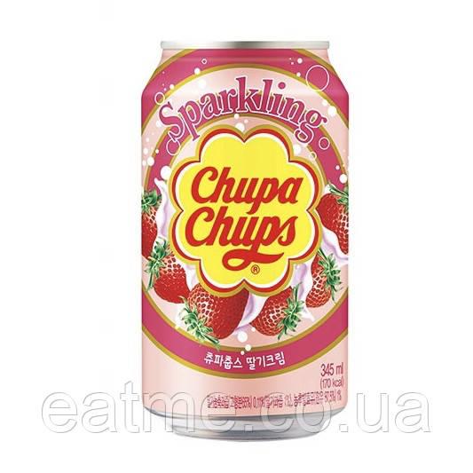 Chupa Chups Sparkling Газированный напиток со вкусом клубники со сливками