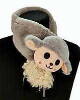 Короткий детский шарфик меховой серый с овечкой