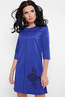 Платье туника свободного кроя синего цвета, платье замшевое молодежное, платье красивое повседневное, фото 1