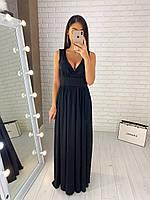 Длинное вечернее платье в пол в греческом стиле, черное