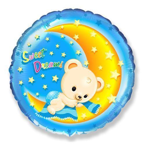 Фольгированный шар Круг BEAR SWEET DREAMS 45см х 45см 401525