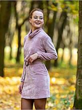 Велюровое платье воротник-хомут