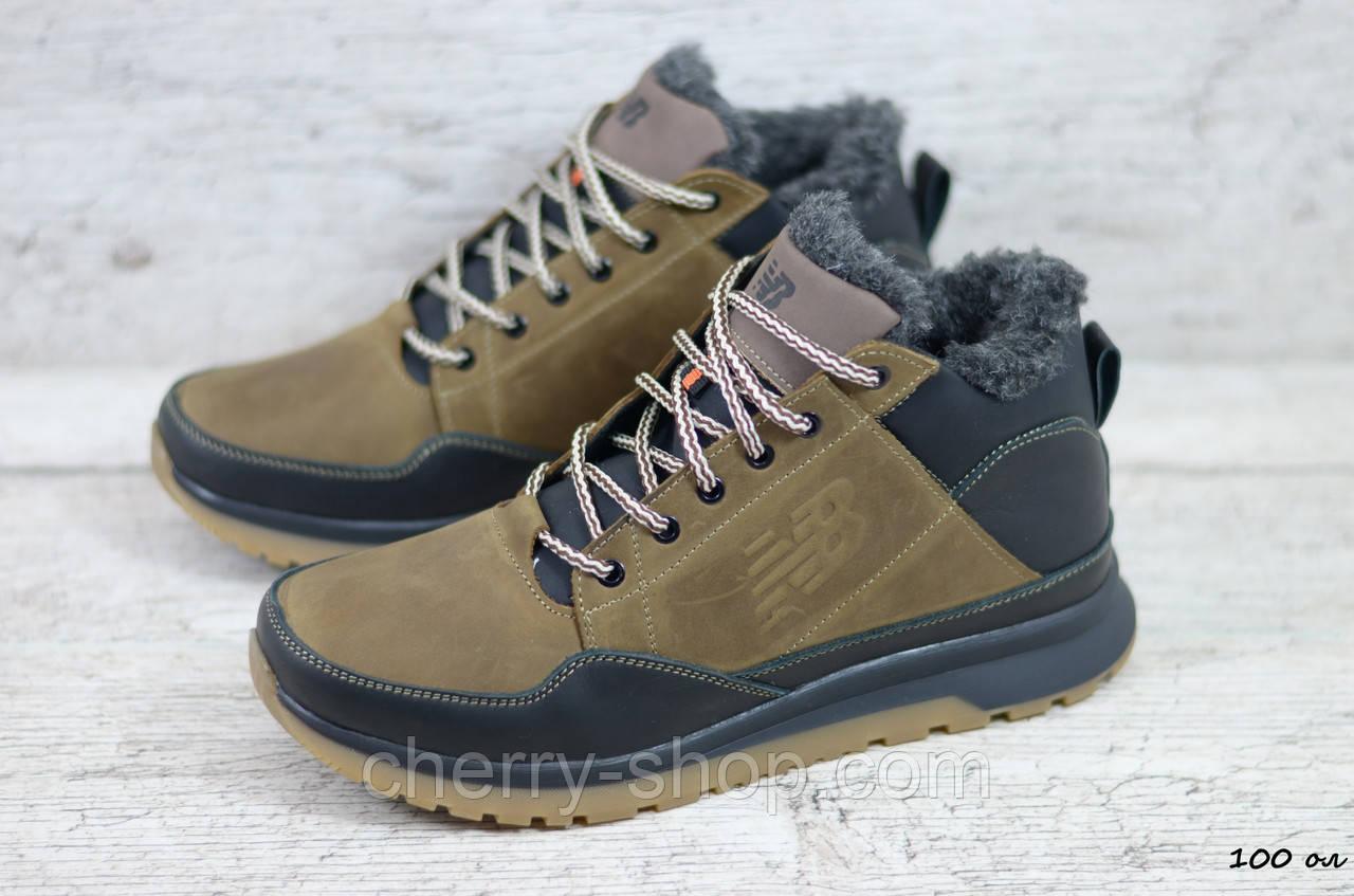 Мужские кожаные зимние кроссовки New balance оливкового цвета