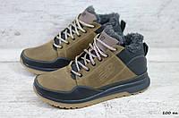 Мужские кожаные зимние кроссовки New balance оливкового цвета, фото 1