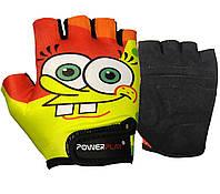 Перчатки велосипедные детские ӏ велоперчатки детские 5473 Sponge Bob жовто-помаранчеві 2XS