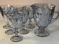 """Набор бокалов с графином серебро 300 мл """"Изумруд"""" ( бокалы для вина )"""