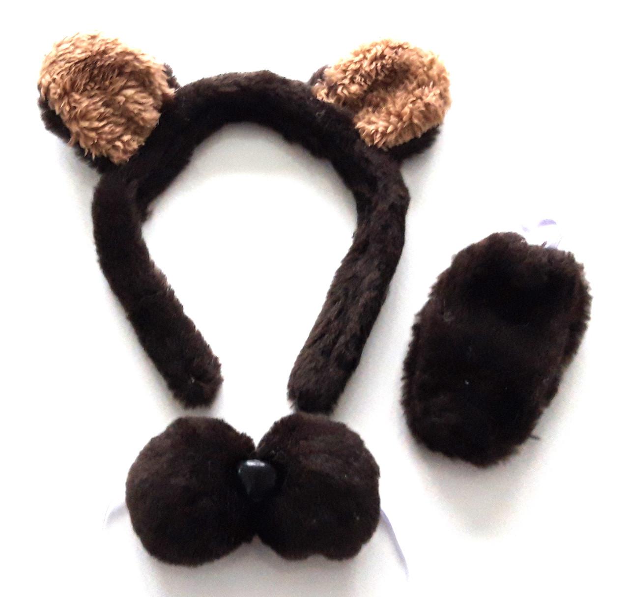 Набор медвежонка (ушки, хвостик, бабочка), коричневый