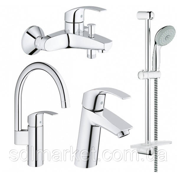 Набір змішувачів 4 в 1 GROHE EUROSMART для ванної кімнати + кухня