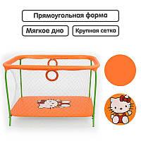 "Гр Манеж №9 ЛЮКС ""Hello Kitty"" - цвет оранжевый (1) прямоугольный, мягкое дно, крупная сетка"