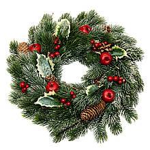 Венок новогодний рождественский Еловый с яблоками и шишками 008NF на дверь на стену искусственный