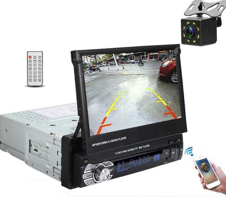 Автомагнитола выдвижная Pioneer MT8127 Android 8.0, GPS WiFi, Bluetooth DVD с выездным экраном съемная  панель