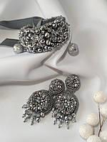 Набор вечерних украшений, браслет и серьги из хрусталя серебристого цвета