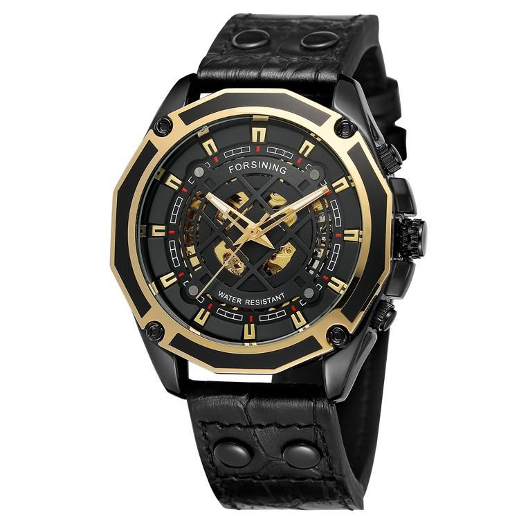 Механические часы с автоподзаводом Forsining (black-gold)