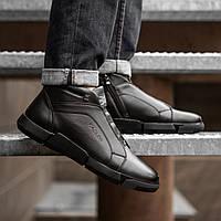 Зимняя мужская обувь чёрные эко кожа
