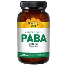 """Пара-аминобензойная кислота Country Life """"PABA"""" длительное высвобождение, 1000 мг (60 таблеток)"""