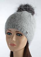 Женская шапка зимняя Клайда дымка