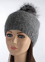 Вязаная шапка зимняя Клайда маренго