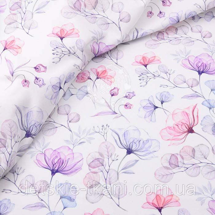 """Корейский хлопок """"Стеклянные цветы"""", ширина 110 см"""