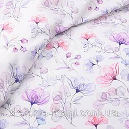 """Корейська бавовна """"Скляні квіти, ширина 110 см"""