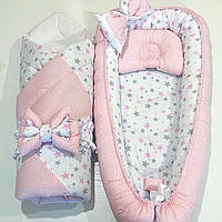 "Кокон гнездышко Babynest ""Розовые точки на розовом + розово-серые звезды на белом"""