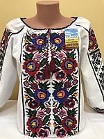 Женская вышиванка Гортензия белый хлопок, рукав 3/4 с манжетом