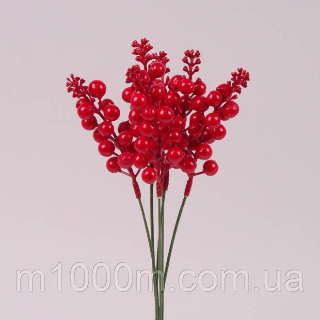 Веточка новогодняя с красными ягодками 40292 Цена за 1 веточку, фото 2
