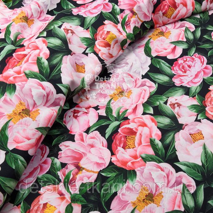 """Корейский хлопок """"Розовые пионы"""", ширина 110 см"""