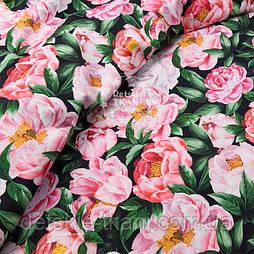 """Корейська бавовна """"Рожеві півонії"""", ширина 110 см"""
