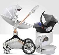 Оригинальная детская коляска 3в1 Hot Mom New Crescent Silver 360 Светло-серая эко-кожа Прогулочная, люлька, автокресло, фото 1