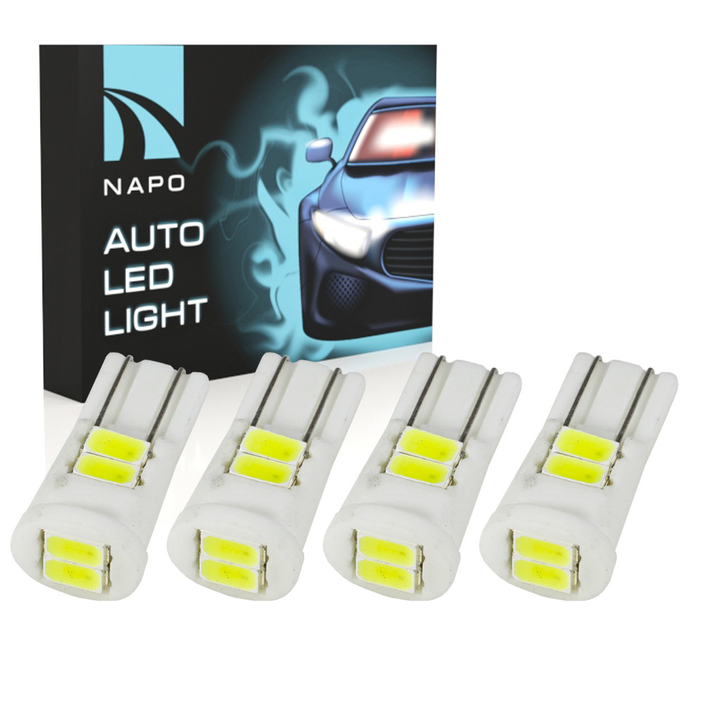 Автолампа диодная T10-5630-6smd Ceramic  комплект 4 шт  W5W T10  цвет свечения белый