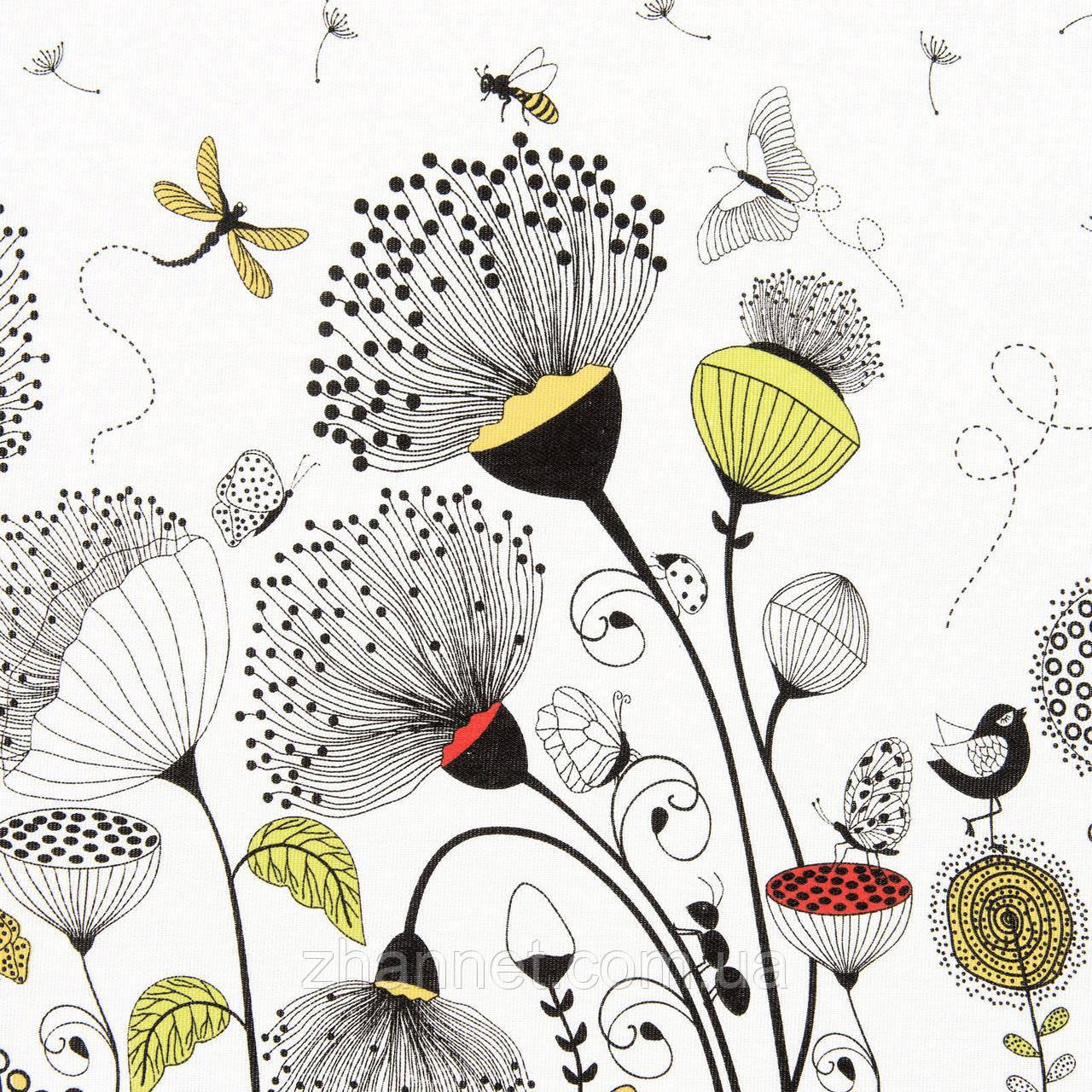 Ткань для скатерти рогожка Одуванчики 150 см (598161)