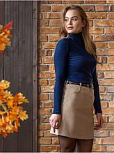 Вельветовая мини юбка цвет бежевый