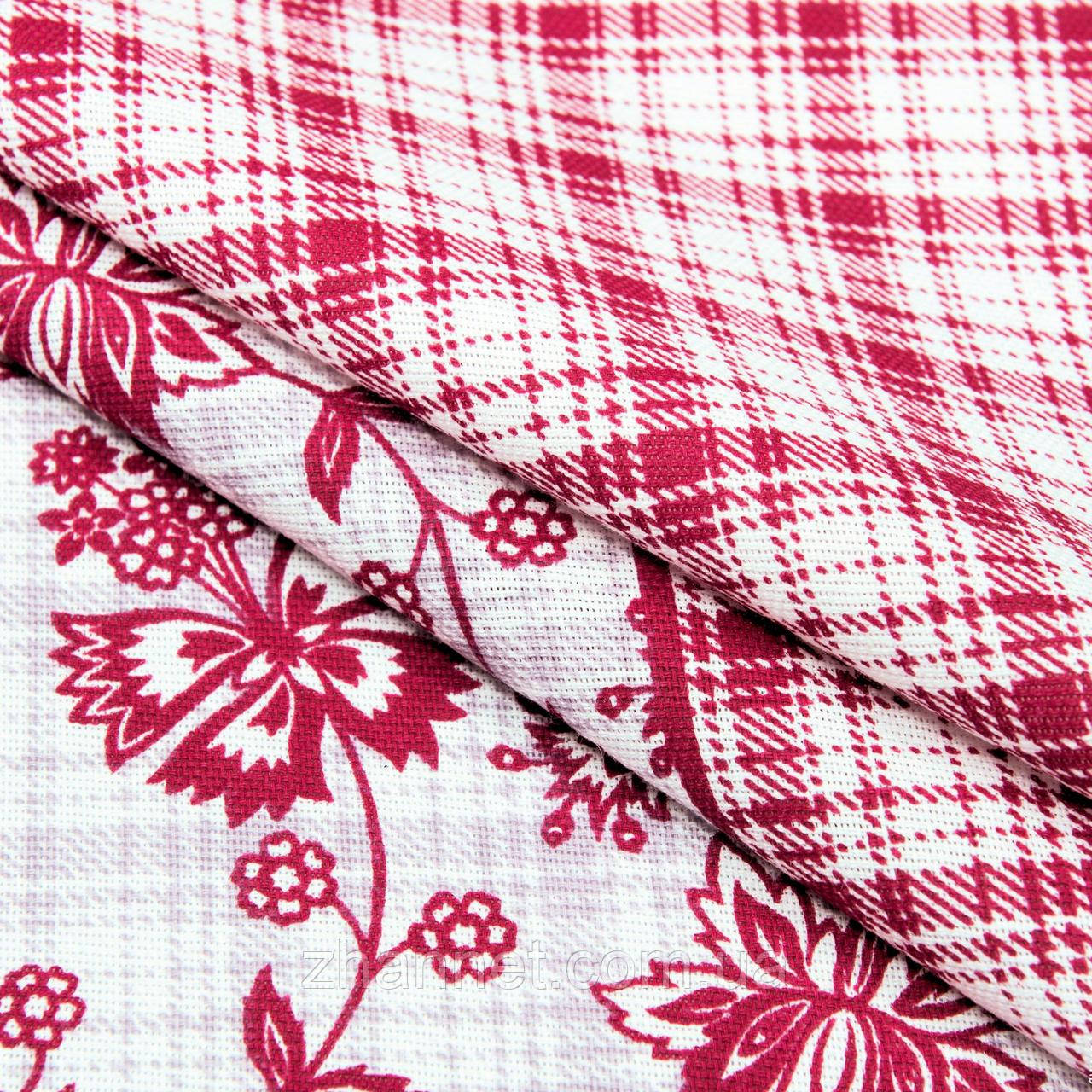 Ткань для скатерти рогожка Цветы красный 150 см (527041)