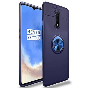 ✬Силіконовий чохол-накладка C-KU SM02 Blue для смартфона OnePlus 7 магнітний тримач захисний з підставкою, фото 2
