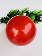 Елочный шар. Большой,красный шар на елку(15 см)