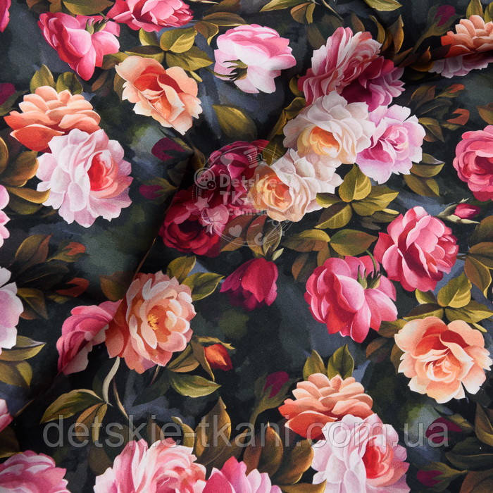 """Корейский хлопок """"Винтажные розы"""", ширина 110 см"""