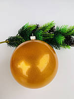 Елочный шар. Большой, золотой шар на елку(15 см)