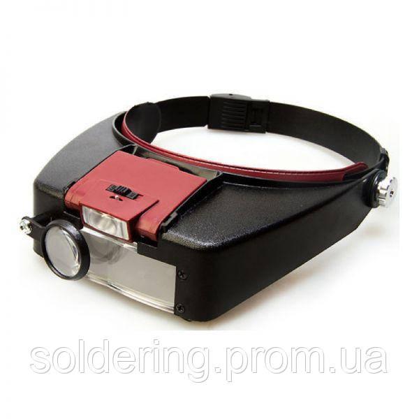 Бинокулярная лупа Magnifier 81007-A, увел.- 1.5X-10Х с Led
