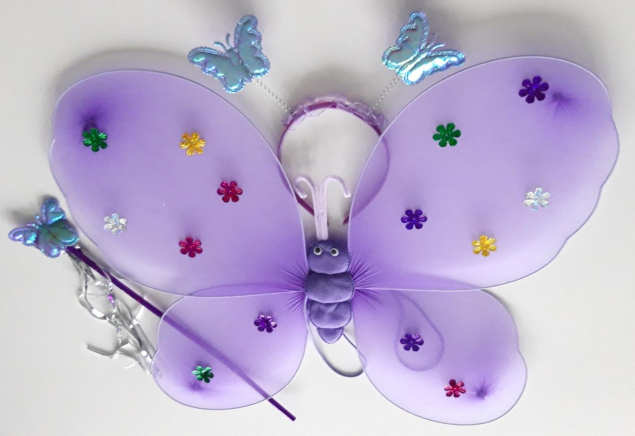 Крылья феи набор (крылья, палочка, обруч), сиреневый (40Х38)