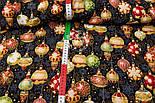 """Американский хлопок """"Новогодние шары на чёрном"""", с глиттером, ширина 110 см, фото 2"""