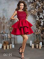 Платье с юбкой болеро из неопрена и гипюровым верхом, 00195 (Бордовый), Размер 42 (S)