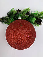 Елочный шар. Большой новогодний шар на елку ( красный)